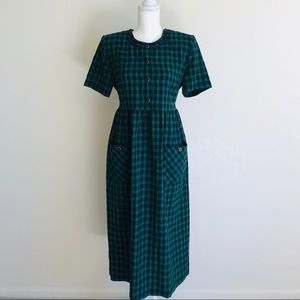 Vintage Plaid Midi Dress